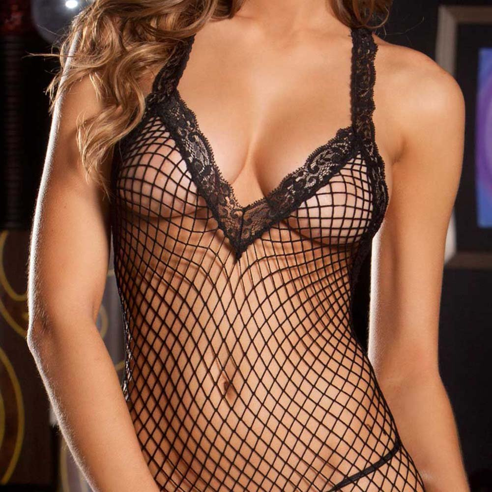 Lace V Neck Fishnet Bodystocking One Size Black - View #3