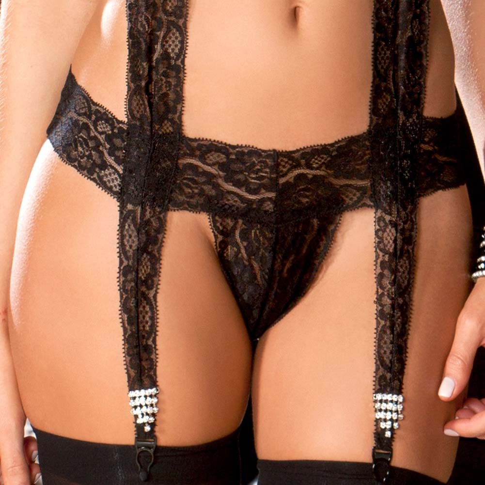 Lace Bodysuit with Jeweled Garters Medium/Large Black - View #3