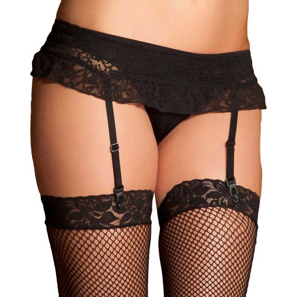 Lace Top Fishnet Thigh Highs One Size Black - View #2