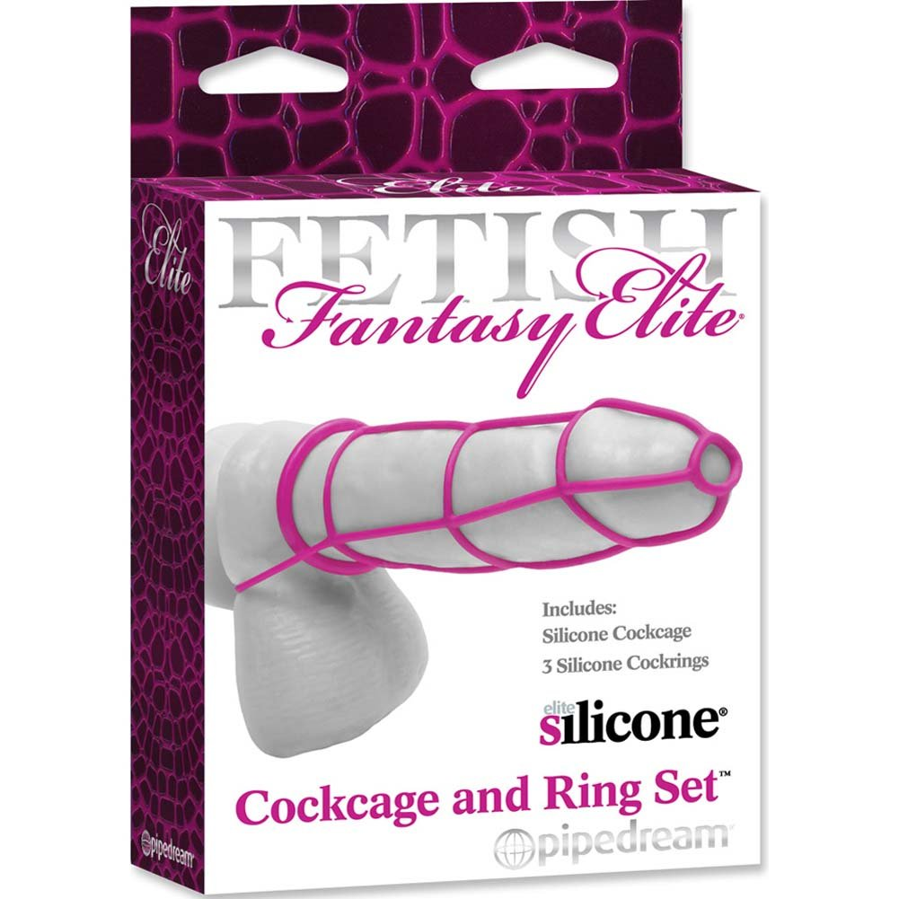 Fetish Fantasy Elite Silicone Cockcage and Ring Set Pink - View #3