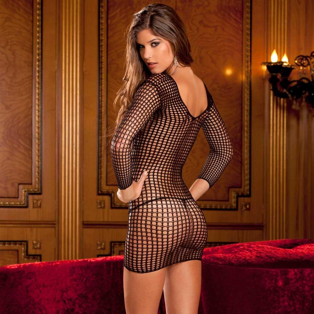 Crochet Net Long Sleeve Dress One Size Black - View #2