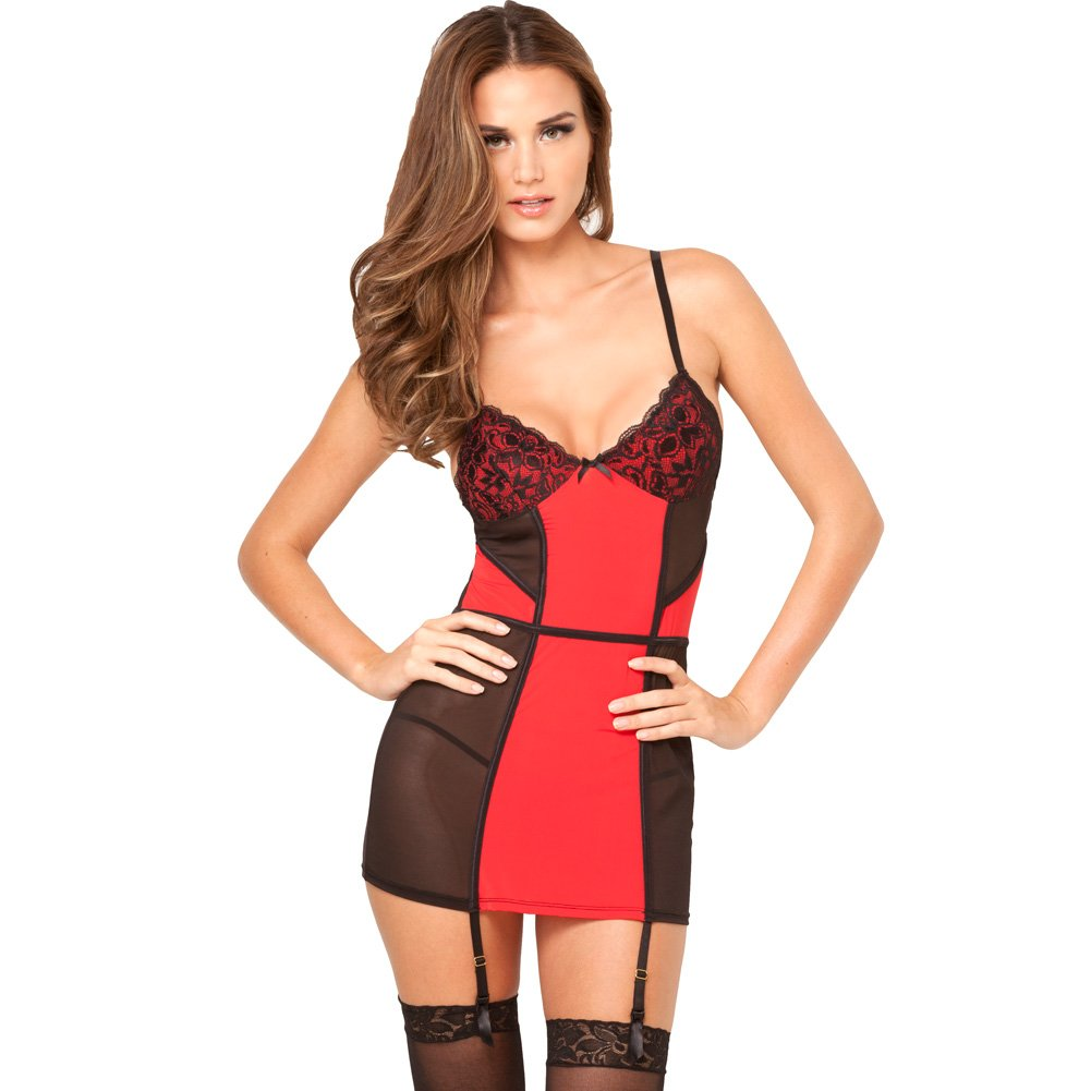 Mod Goddess Garter Chemise and G-String Small/Medium Red and Black - View #1