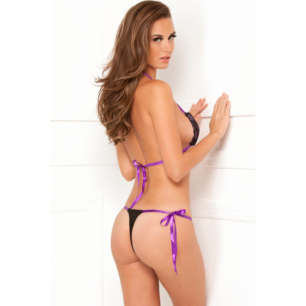 Rene Rofe Lace Tie-Up Bra and Thong Set One Size Black/Lavender - View #2