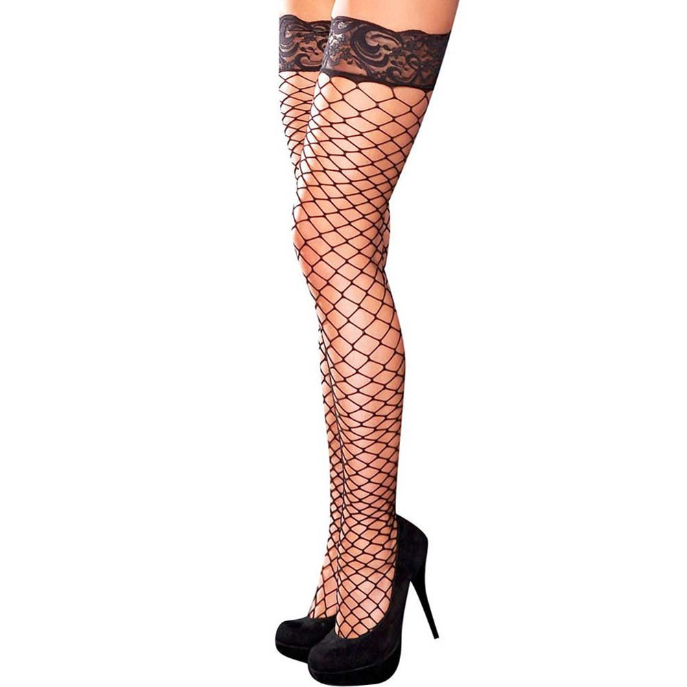 Hustler Lace Top Fencenet Thigh High One Size Black - View #1
