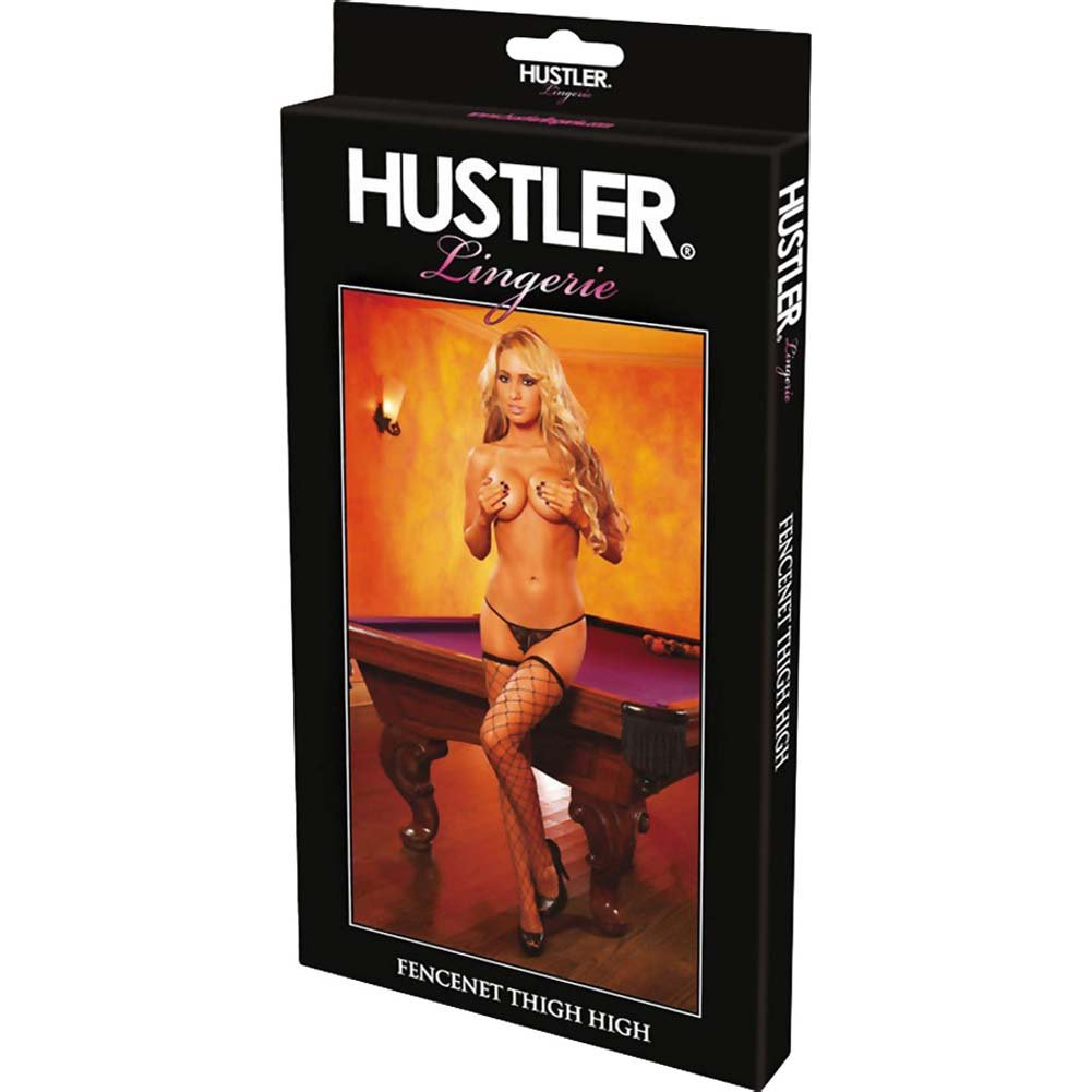 Hustler Diamond Net Thigh High One Size Black - View #4