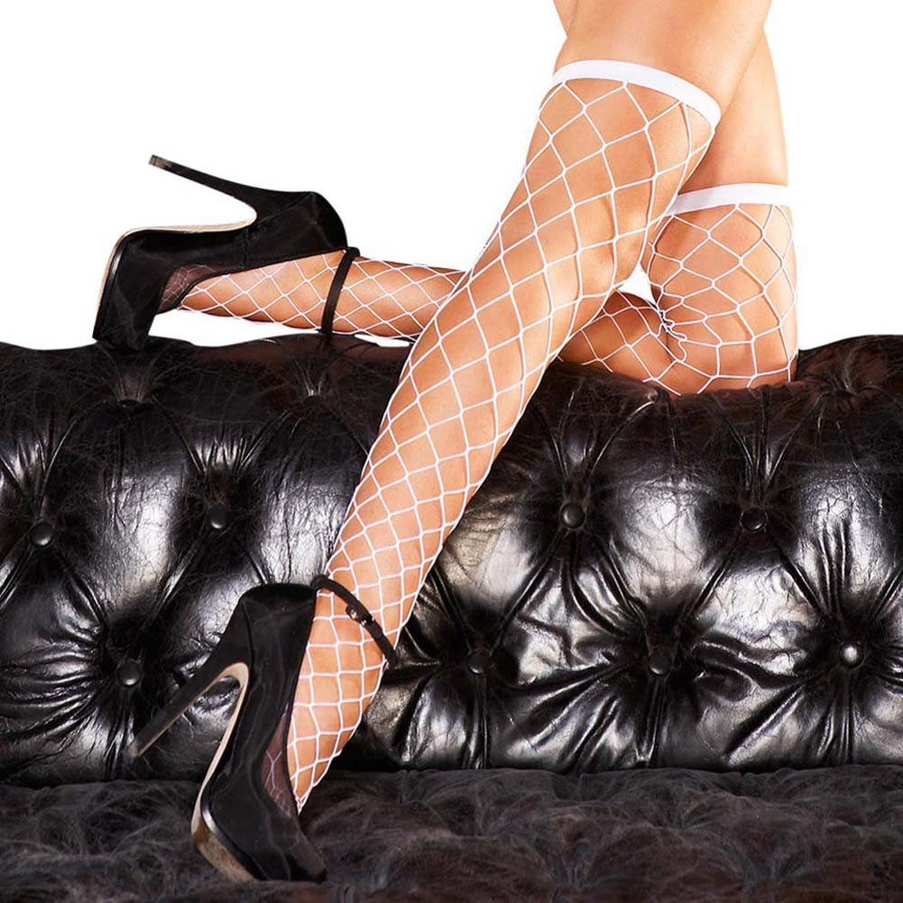 Hustler Diamond Net Thigh High White - View #2