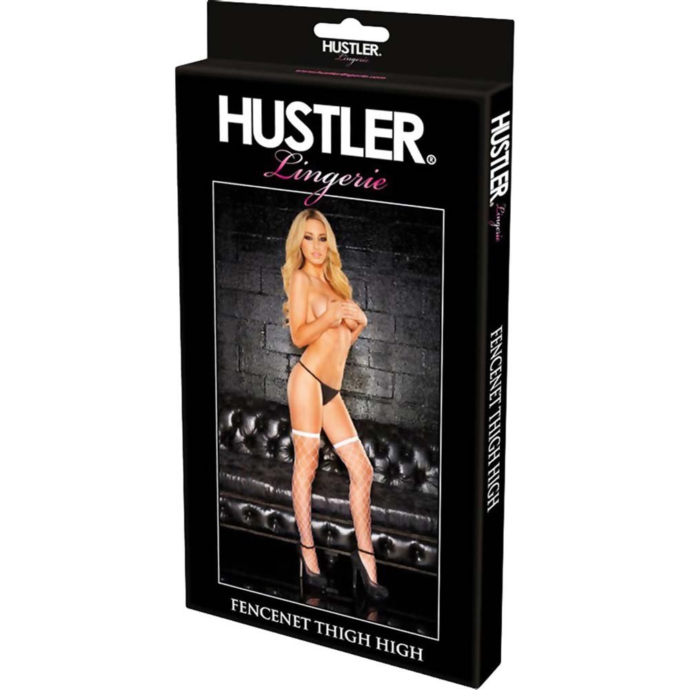 Hustler Diamond Net Thigh High White - View #4