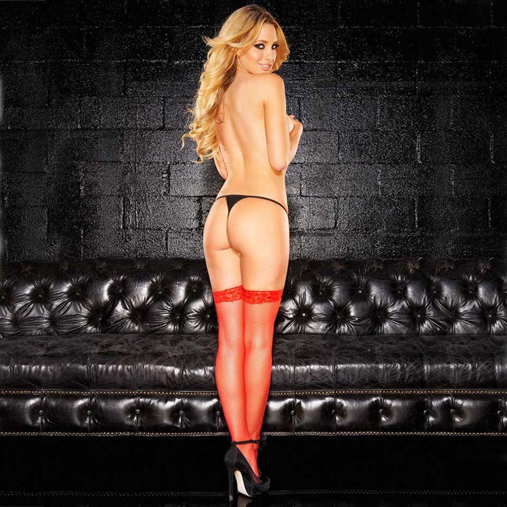 Hustler Fishnet Thigh High with Stay Up Red - View #3