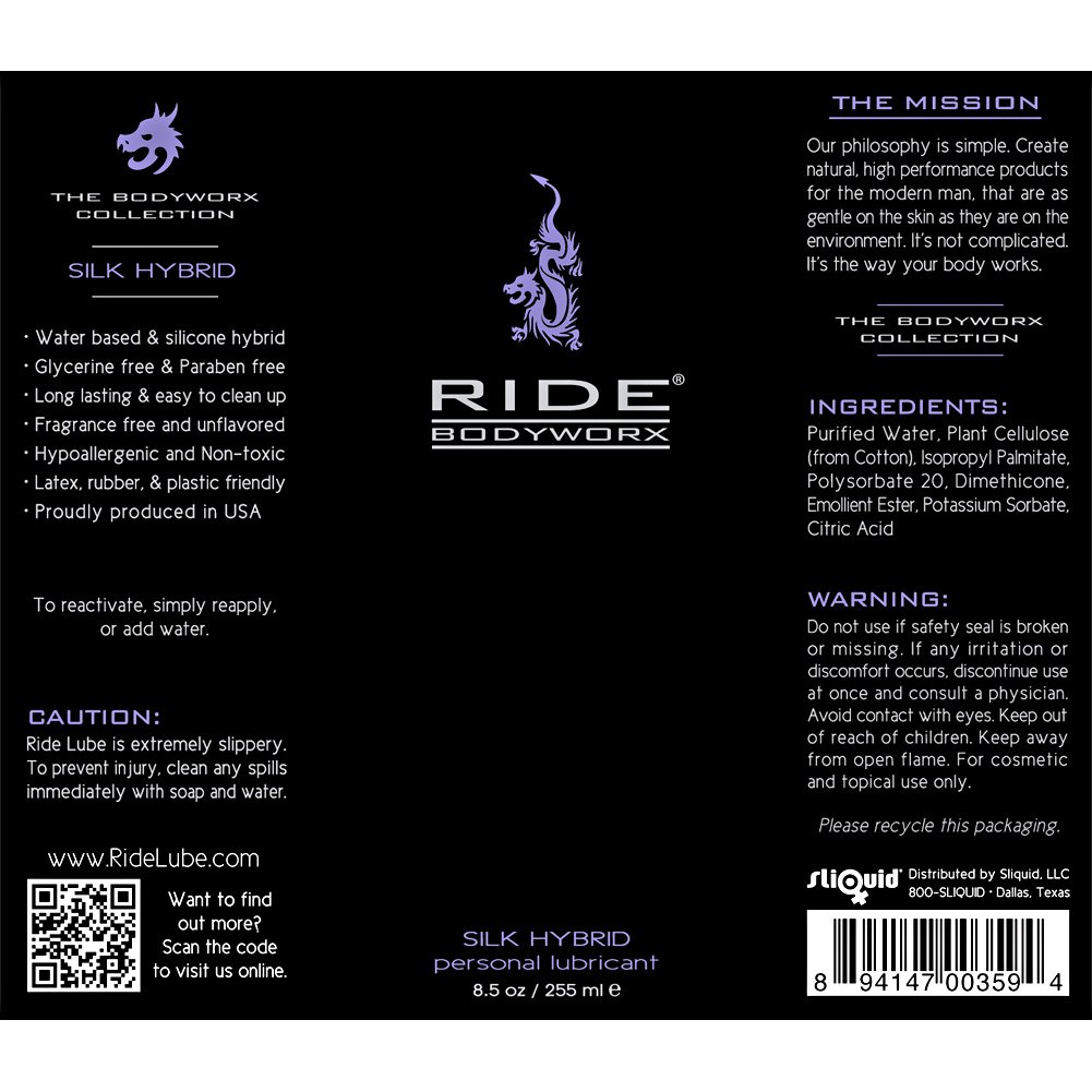 Sliquid Ride BodyWorx Silk Hybrid Lube 8.5 Fl. Oz. - View #1
