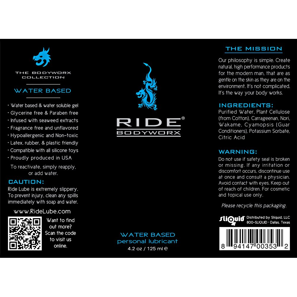 Ride BodyWorx Water Based Personal Lubricant 4.2 Fl.Oz 125 mL - View #1