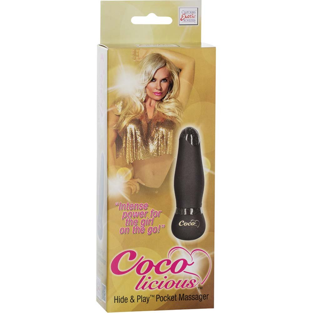 "California Exotics Coco Licious Hide and Play Pocket Massager 3.5"" Black - View #1"