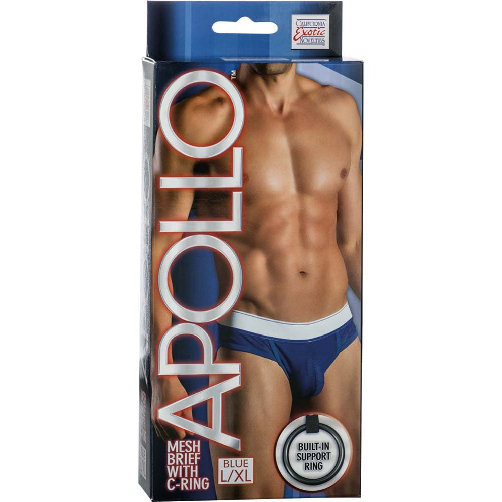 California Exotics Apollo Mesh Brief with C-Ring Blue Large/Extra Large.Size - View #1