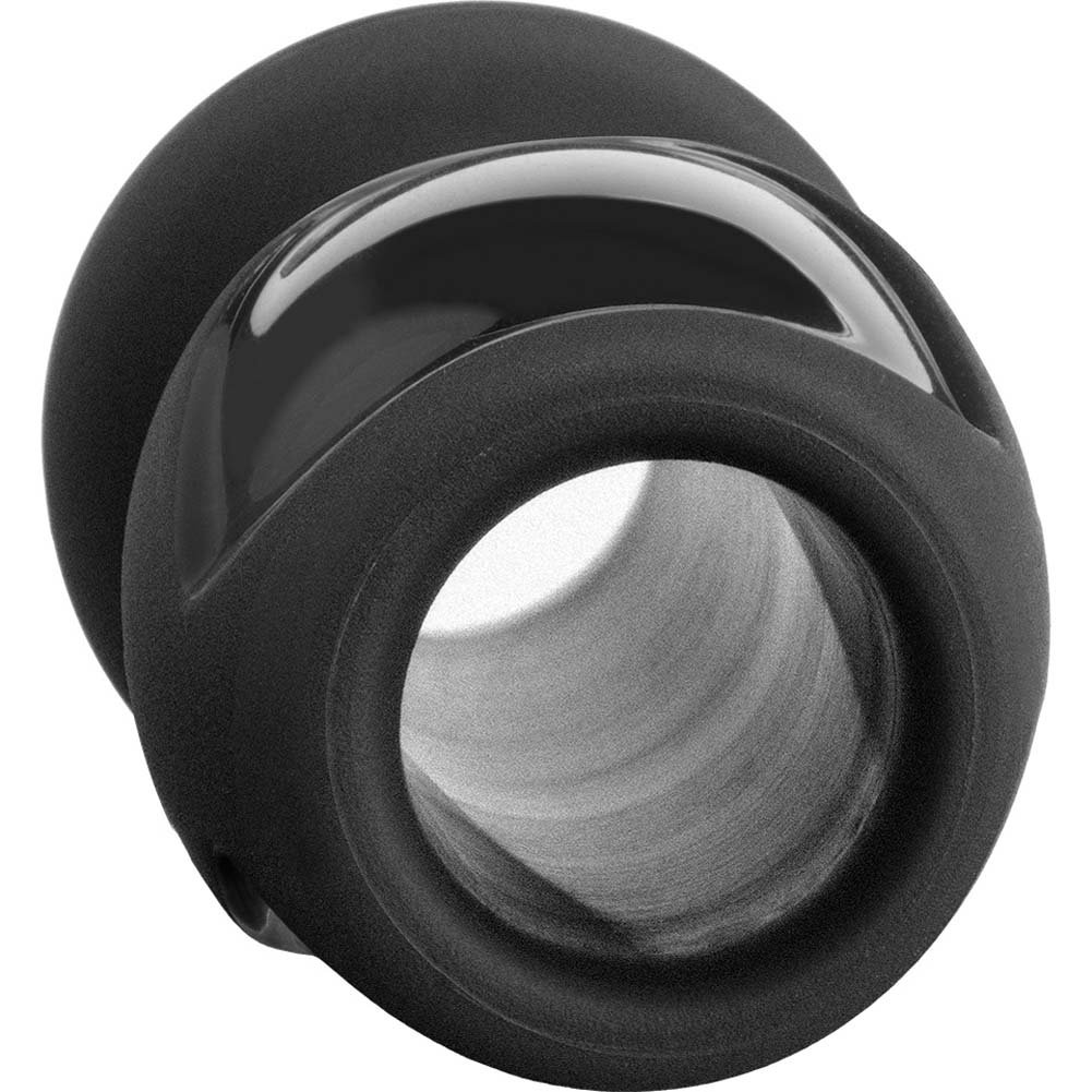 "Platinum Premium Silicone Stretch Medium Butt Plug 4"" Black - View #3"