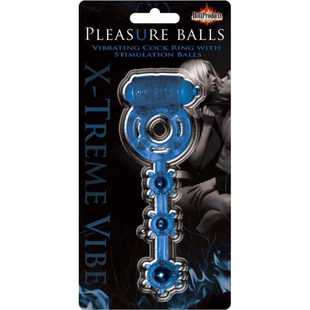 Pleasure Balls Vibrating Cock Ring Blue - View #2