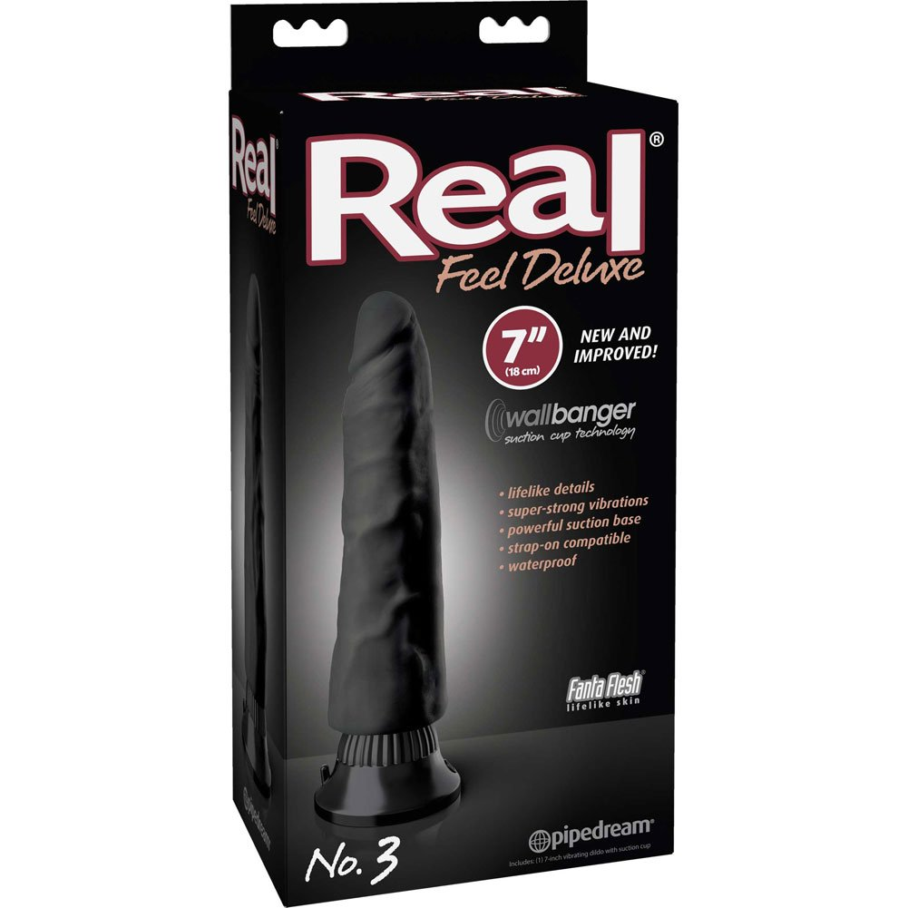 "Real Feel Deluxe 3 - Thick Realistic Vibe 7"" Black - View #1"