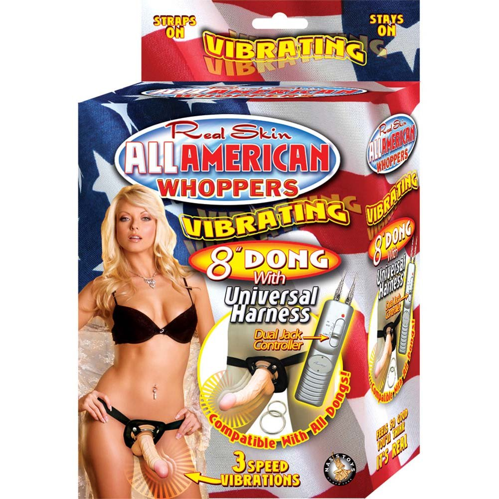 "All American Whoppers Universal Harness with 8"" Vibrating Dong Natural - View #4"