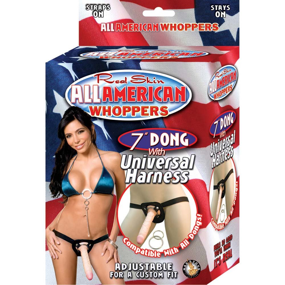 "All American Whoppers Universal Harness with 7"" Dong Natural - View #3"