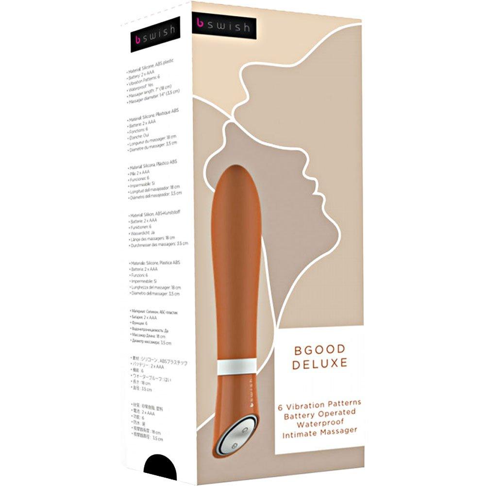 "B Swish Bgood Deluxe Intimate Silicone Vibrator 7"" Tangerine - View #4"