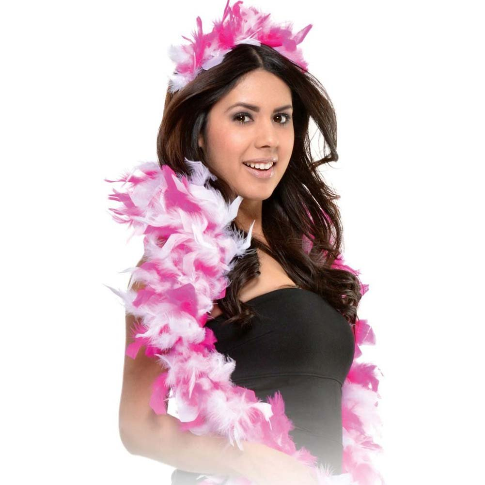Bachelorette Party Favors Feather Tiara and Boa Set Pink - View #2
