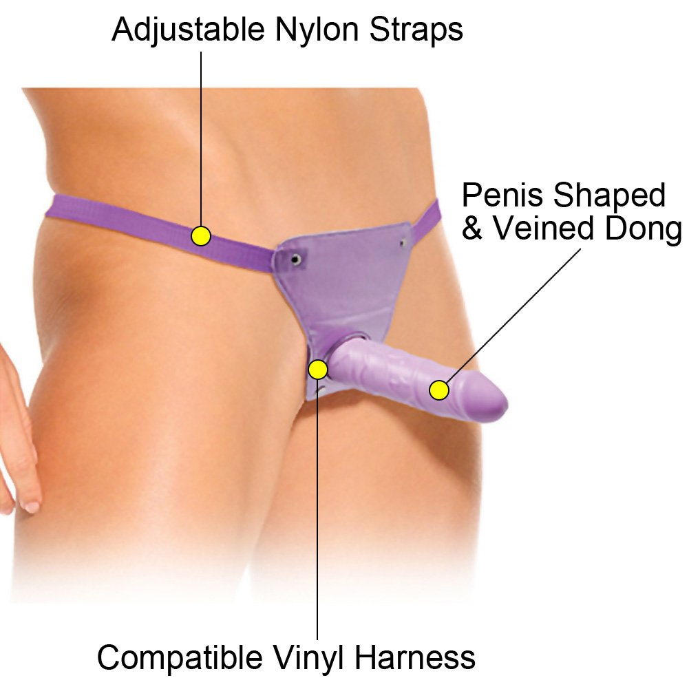 "Classix Slim Strap-On Dong with Harness 6"" Purple - View #1"