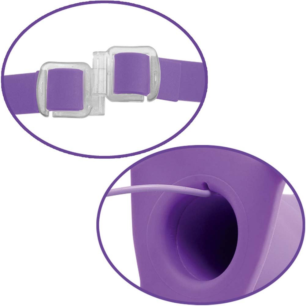 "Fetish Fantasy Elite 7"" Vibrating Hollow Strap-On Purple - View #3"