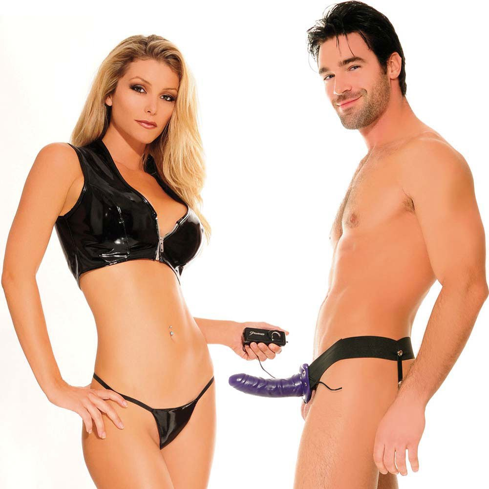 """Fetish Fantasy Series Vibrating Hollow Strap-On Dong for Him or Her 6"""" Purple - View #1"""