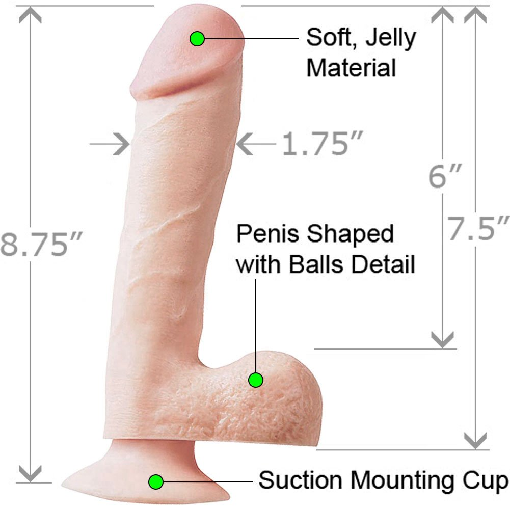 """Basix Rubber Works 7.5"""" Ballsy Dong With Suction Cup Natural - View #1"""