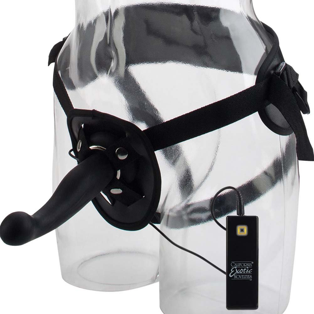 """10 Function Silicone Love Rider G-Kiss Strap-On Dong with Harness 6.5"""" Black - View #2"""