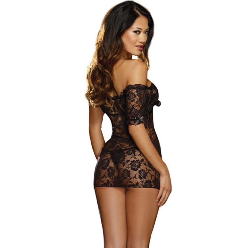 Stretch Lace Peasant Styled Babydoll Black - View #2