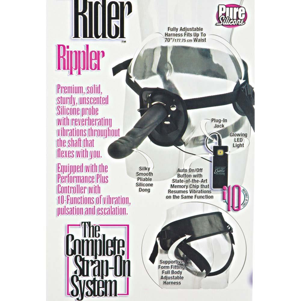 "10 Function Silicone Vibrating Love Rider Rippler Dong with Harness 7.75"" Black - View #1"