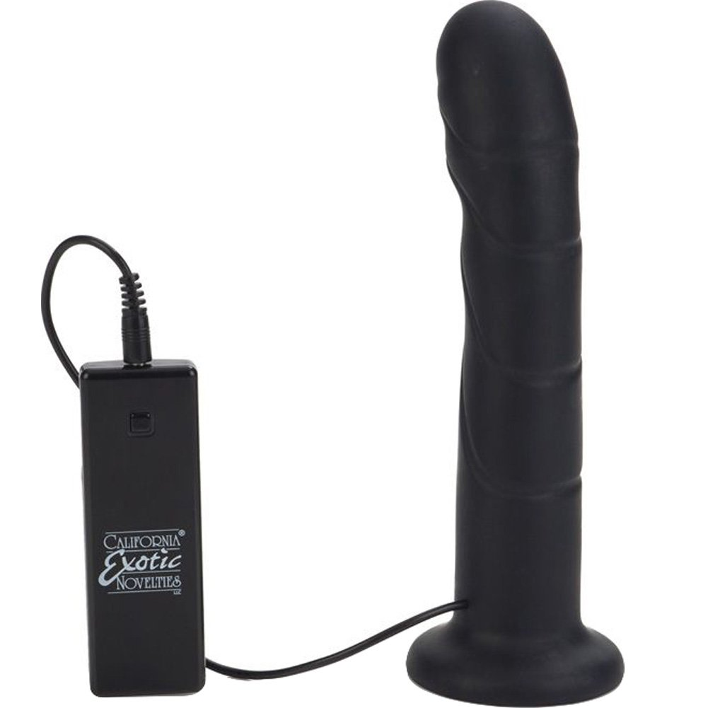 "10 Function Silicone Vibrating Love Rider Rippler Dong with Harness 7.75"" Black - View #3"