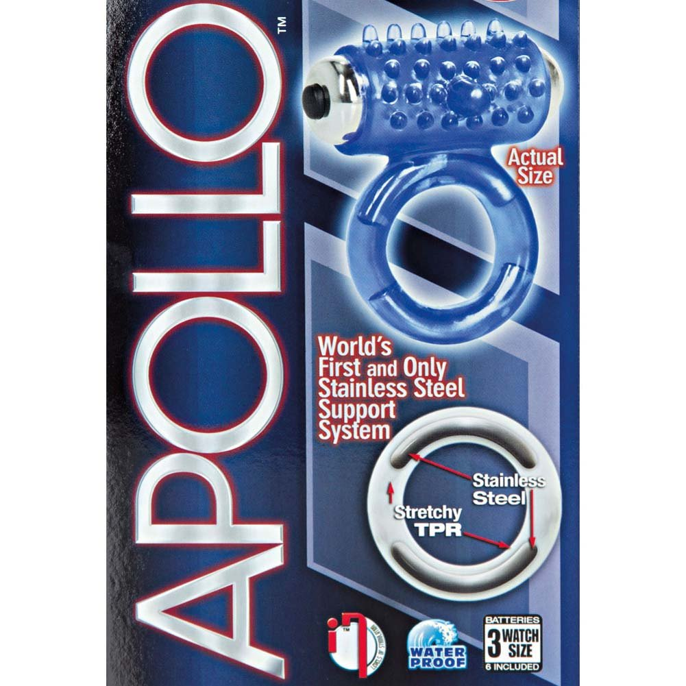 Apollo 7-Function Premium Vibrating Enhancer Cockring Blue - View #1