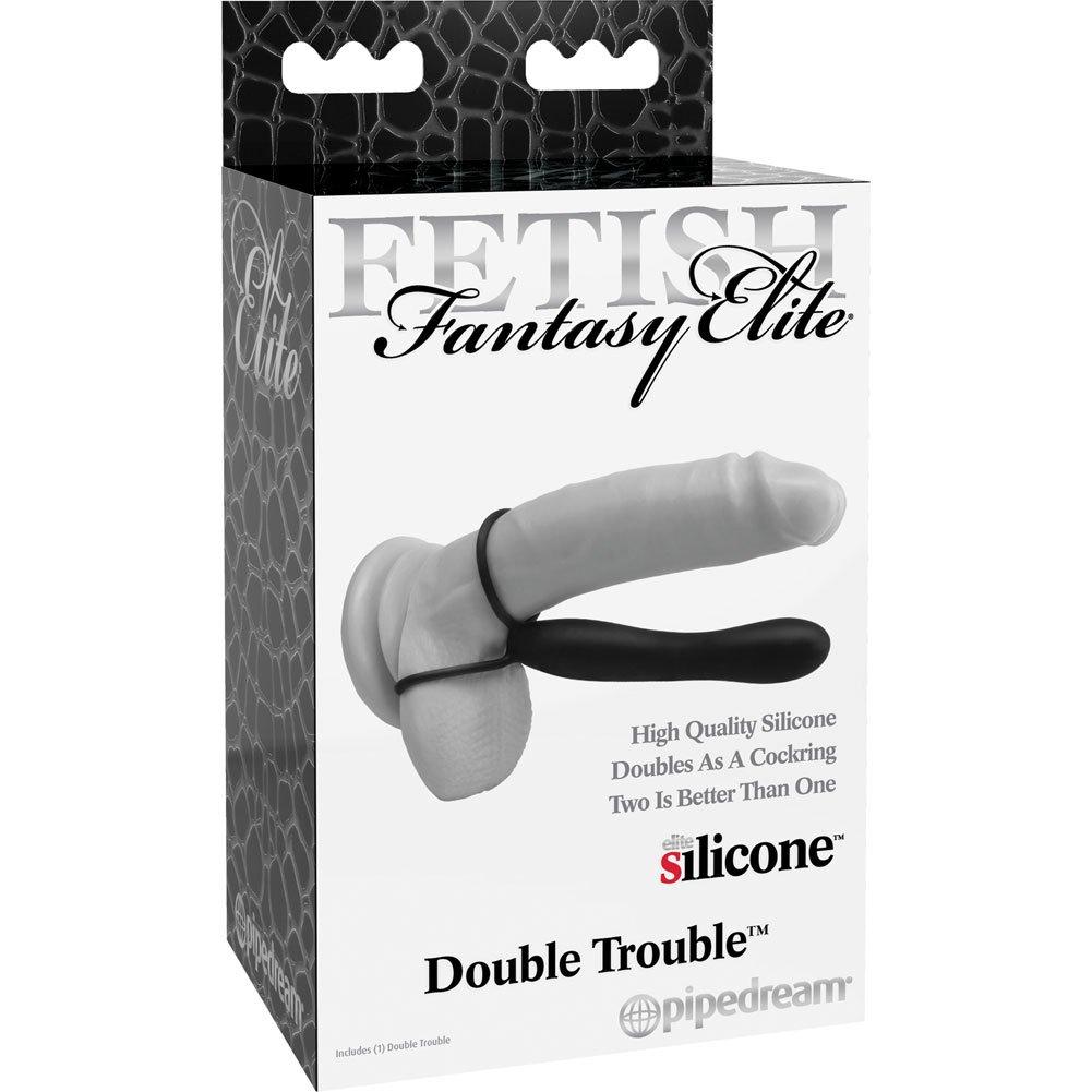 """Fetish Fantasy Elite Double Trouble Double Penetration Strap-On 6"""" Black - View #3"""