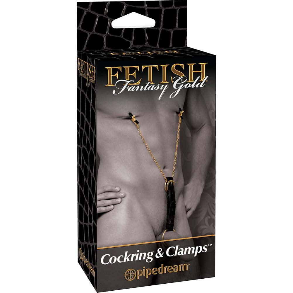 Fetish Fantasy Gold Cockring and Nipple Clamps Black - View #4