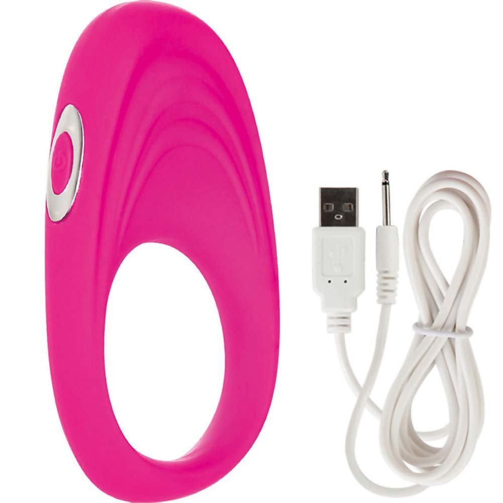 Embrace Pleasure Ring USB Rechargeable Silicone Cockring Pink - View #2
