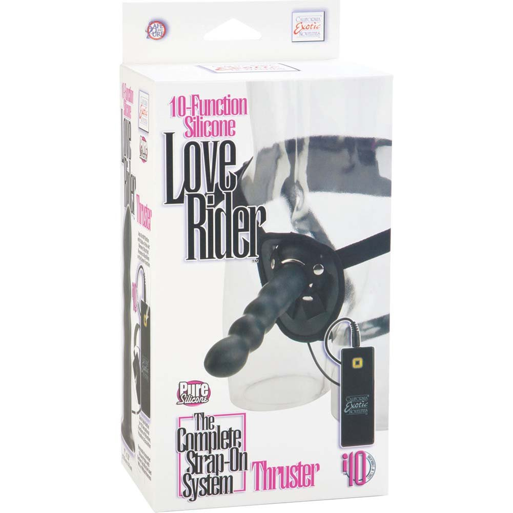 "10 Function Silicone Love Rider Thruster 7.5"" Black - View #4"