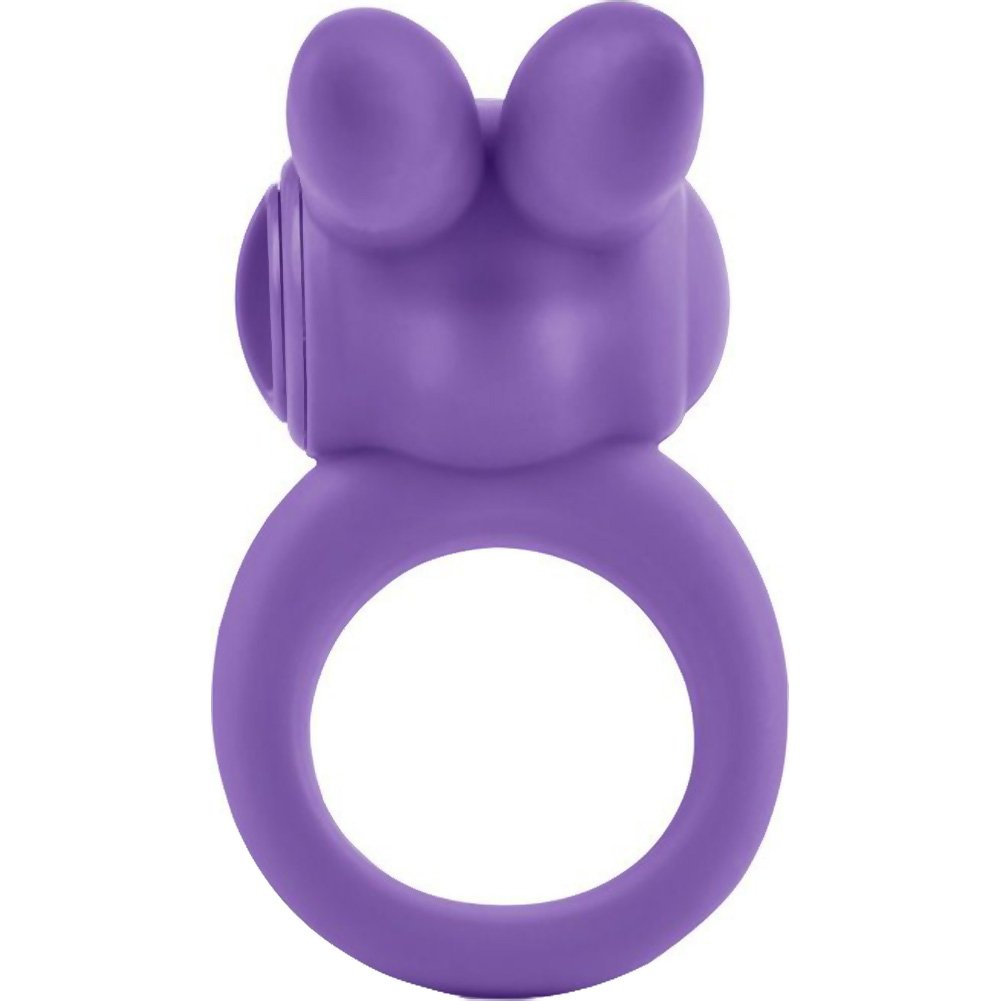 Silicone Jack Rabbit Vibrating Cock Ring Purple - View #3