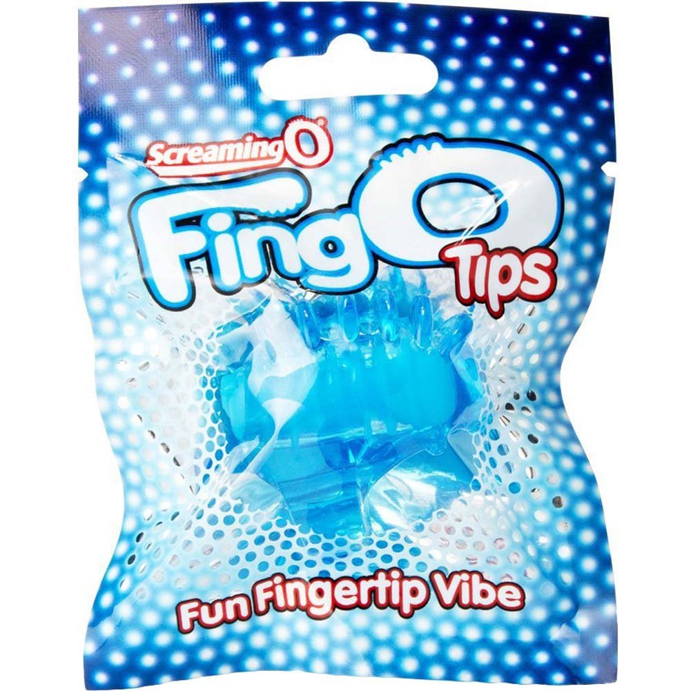 Screaming O FingO Tips - Silicone Micro Finger Vibrator Blue - View #4