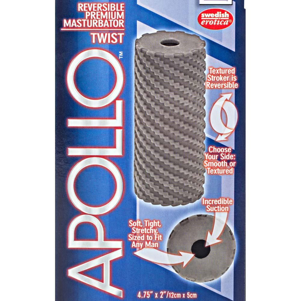 "Apollo Reversible Premium Masturbator Twist 4.75"" Grey - View #1"
