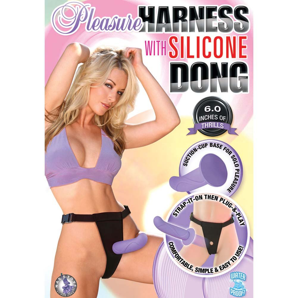 "Pleasure Harness with Removable Silicone Dong 6"" Lavender - View #3"