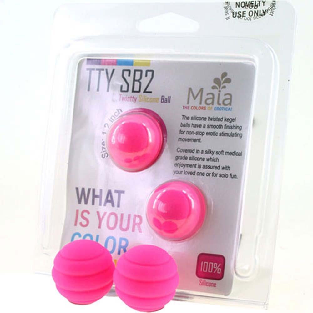 "Maia Twistty TTY SB2 Silicone Kegel Balls 1.2"" Neon Pink - View #1"