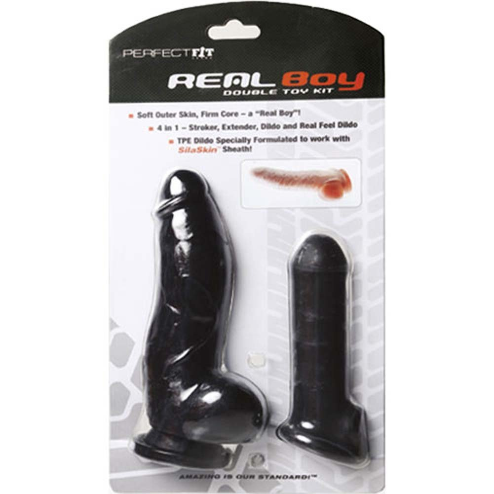 Perfect Fit Real Boy Kit with Dildo and Extension Sleeve Black - View #1