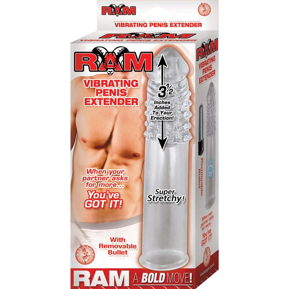 "Ram Vibrating Penis Extender Adding 3.5"" Clear - View #1"