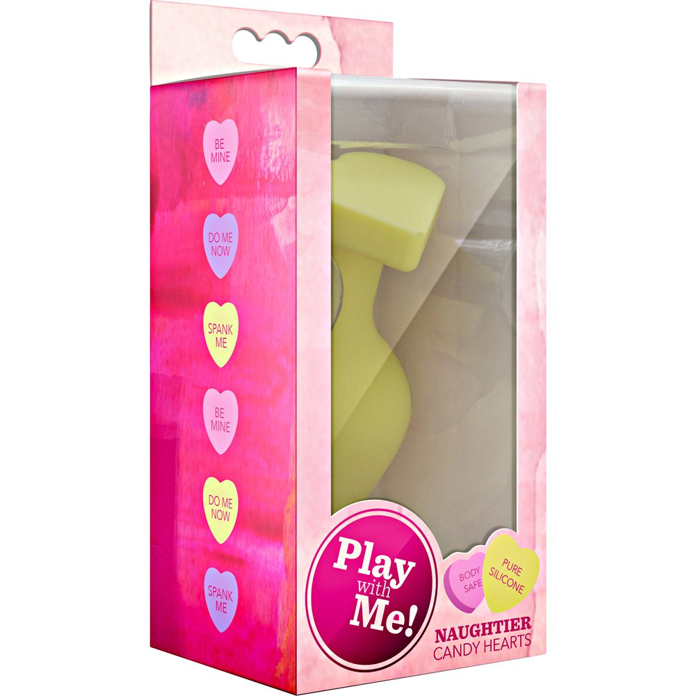 """Blush Play with Me Naughtier Candy Heart Fill Me Up Butt Plug 4.25"""" Yellow - View #1"""