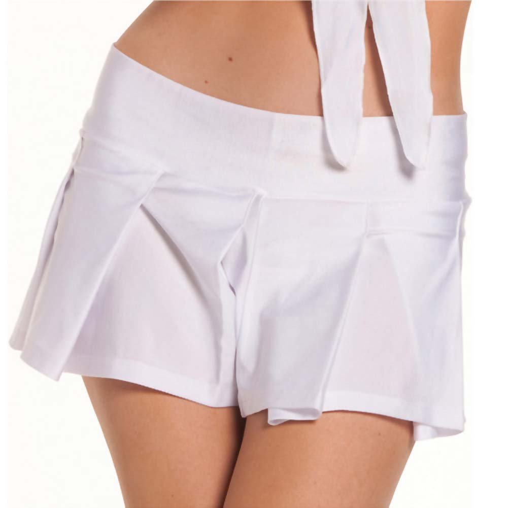 Solid Color Pleated School Girl Skirt White M/L - View #1