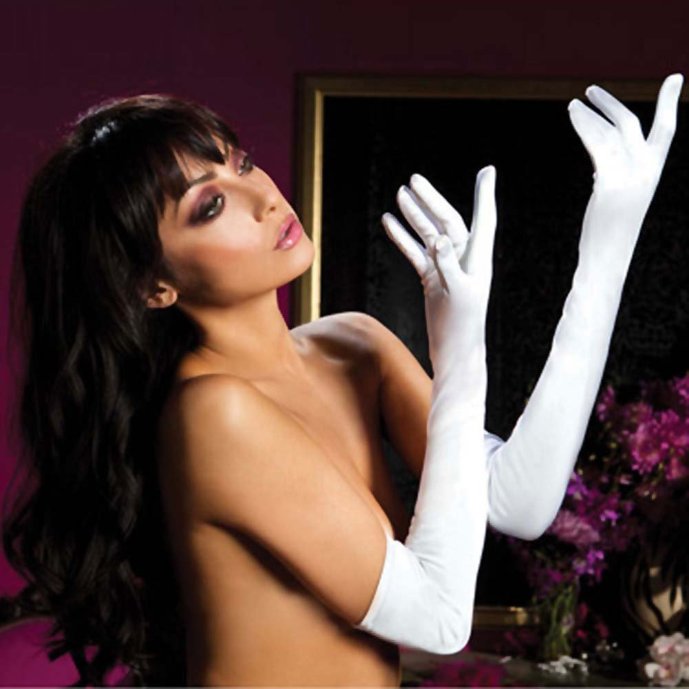 Seven Til Midnight Satin Opera Length Gloves One Size White - View #1