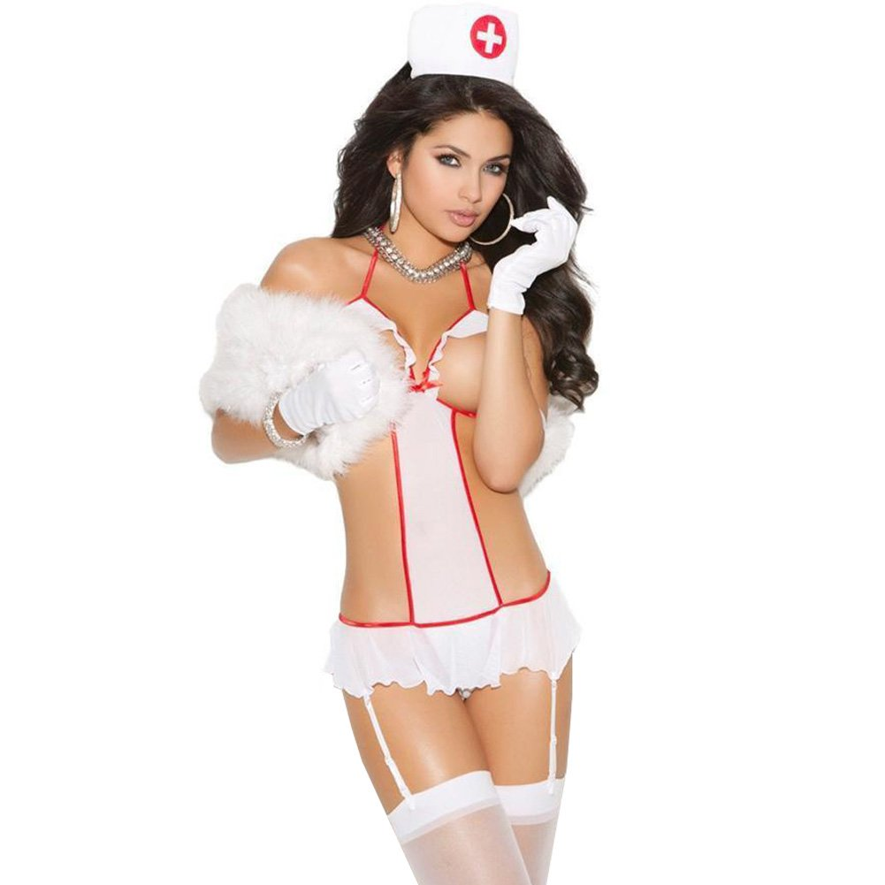 Vivace 2 Pc Mesh Teddy W/Attached Leg Garters Head Piece White O/S - View #1