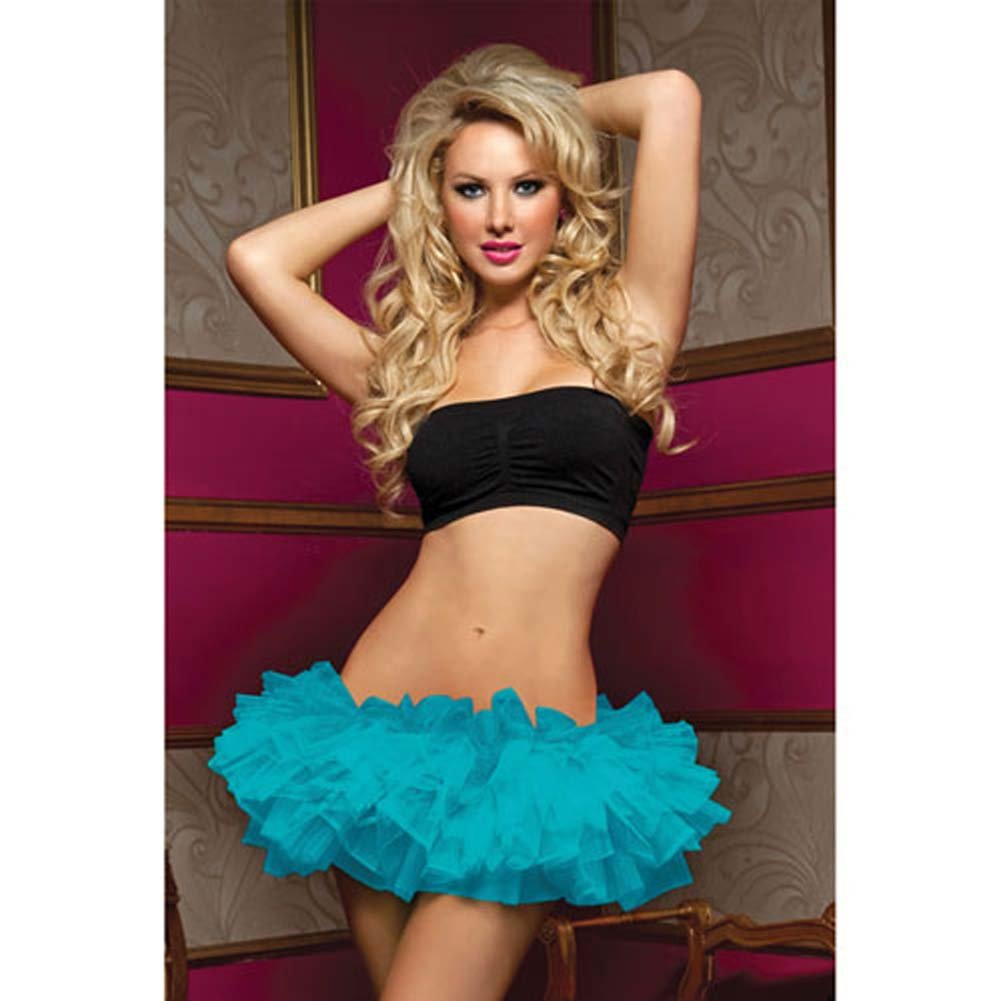 Tiered Multi Layer Tulle Tutu W/Elastic Waistband Blue O/S - View #1