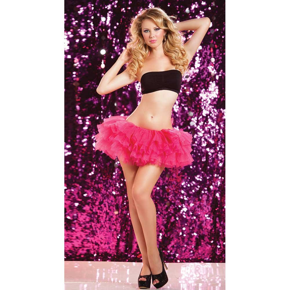 Seven Til Midnight Multi Layer Tulle Tutu Skirt Wiith Elastic Waistband One Size Pink - View #2