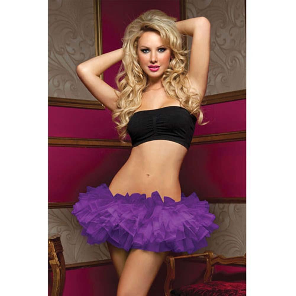 Tiered Multi Layer Tulle Tutu W/Elastic Waistband Purple O/S - View #1